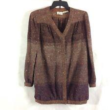 Valentino Boutique B3 Womens Jacket Top Brown Wool Long Sleeve Winter Cute Sz 10