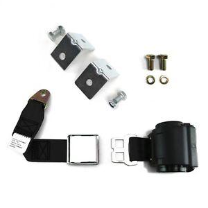 2pt Black Retractable Airplane Buckle Lap Seat Belt w/ Anchor Hardware SafTboy