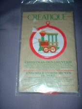 VINTAGE CREATIQUE CHRISTMAS ORNAMENT EMBROIDERY KIT ~ TRAIN ENGINE ~ NEW
