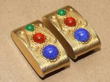 """VTG Signed Vo USA Etruscan Style Goldtone Faux Gemstone Glass Clip Earrings 1.5"""""""