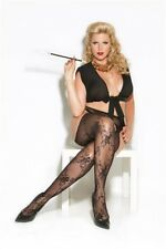 New Sexy Black Floral Lace Suspender Pantyhose Plus Size  Oz Seller