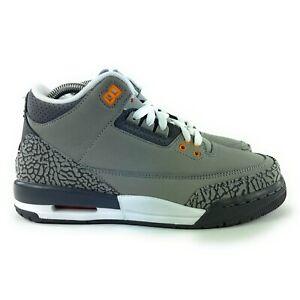Nike Air Jordan 3 Retro Cool Grey Silver Sport Red Shoes 398614-012 Size 7 Y