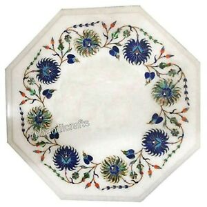 Marble Coffee Table Top Octagon Shape Side Table with Peitra Dura Art 12 Inches