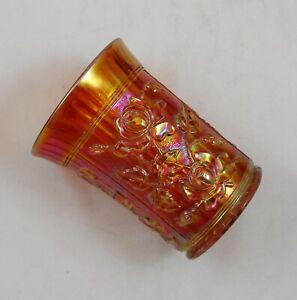 IMPERIAL LUSTRE ROSE DARK MARIGOLD CARNIVAL GLASS TUMBLER