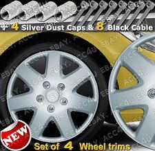"14"" inch 7 Spoke Set of 4 Car Wheel Trims Cover Hub Cap 4 Dust Caps 8 Cable Ties"