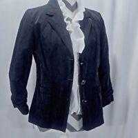 Chicos Womens Sz 0 Black Crinkle Button Down Blazer Cotton Blend 3/4 Sleeve