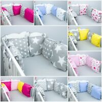 PILLOW BUMPER made form 6 cushions for cot bed GREY PINK BLUE STARS CHEVRON DOTS