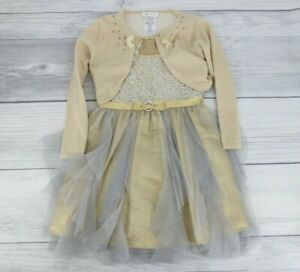 Bonnie Jean Little Girls Fit & Flare Sequin Dress & Sweater Set Small Gold Gray