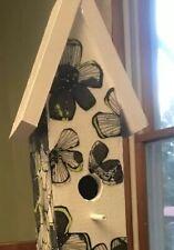 OOAK 2' Black And White Handmade Flower Birdhouse-Garden Decor