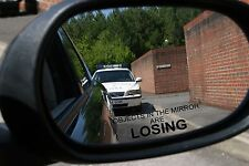 Drive humor wing mirror sticker objects in mirror are losing decal rear view 2pk