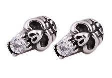 Orecchini collana unisex earring teschio skull acciaio uomo donna regalo punk