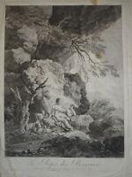 Ch. DIETRICY (1712-1774) GRANDE GRAVURE XVIII° SCÈNE PASTORALE BERGÈRE PAYSAGE