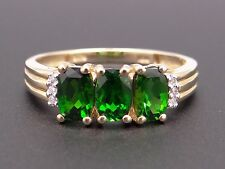 10k Yellow Gold 1.26ct Oval Synthetic Emerald Diamond Band Three Stone Ring 8.5