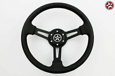 Stoney Racing Steering Wheel Deep Dish Leather 350mm fit Sparco/Momo/OMP Hub