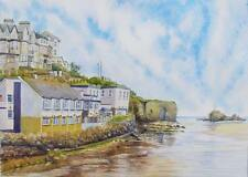 Perranporth Beach, Cornwall art print from Watercolour painting by Alex Pointer