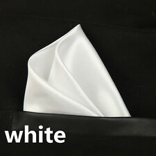 White Pocket Square Hanky Handkerchief Formal Wedding Free P&P