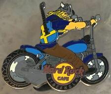 Hard Rock Cafe STOCKHOLM 2012 Viking Guy on Motorcycle w/ Flag Guitar PIN #67795