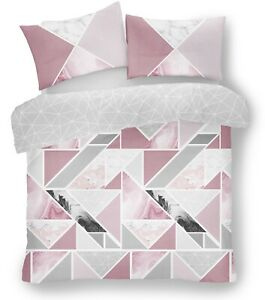 Mila Triangles Marble Geometric Blush Pink King Duvet Cover Quilt Bedding Sets