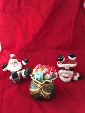 Fitz & Floyd Gifts from Santa Tumblers Figurines 2005 Handpainted Christmas fast