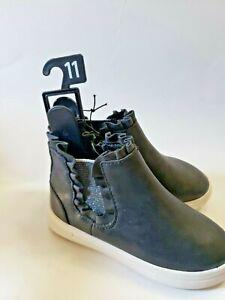 Toddler Girls Size 11 Matte Black Ruffle Zip Up Sneaker Booties wonder nation