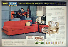 Kroehler Furniture 2-Page PRINT AD - 1953 ~~ couch, sofa