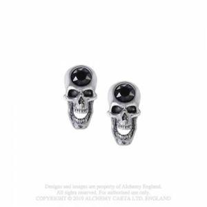 ALCHEMY ENGLAND Gothic Fantasy Swarovski Crystal STUD EARRINGS Screaming Skull