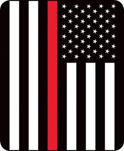 Queen Red Stripe Fire Dept. Fighter US Flag Mink Faux Fur Blanket Super Plush