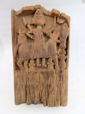 1750's Antique Old Rare Wooden Primitive Tribal Indian God Figure Wall Panel