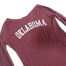 Oklahoma Sooners Women Medium TShirt Crimson Red Long Sleeve Pullover Top *5W