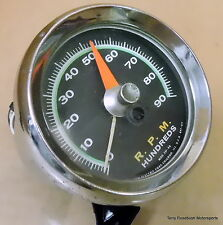 Sun SST-90 Super Tach, 9,000 RPM, Green Face, Good Color, Dents in Bezel,