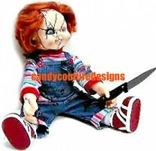 20  WATER SLIDE NAIL  ART DECALS CHUCKY HALLOWEEN DOLL 3/8 INCH