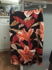 guess collection Skirt Size Small S Black Floral Knee Length Pencil Tropical EUC