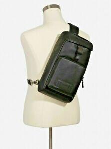 NWT Coach Genuine Calf Leather Black Ranger Sling Pack Crossbody Bag (2943) $398
