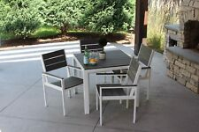 5pc Outdoor Dining Set White Aluminum & Gray Wood Finish New Square Table Chairs