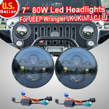 "2x 7"" CREE 80W Round H13 H4 LED Hi/Lo Headlights For Jeep Wrangler JK TJ CJ LJ T"
