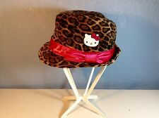 Hello Kitty Fedora Brim Hat Leopard Print With Pink Ribbon Band