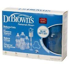 Dr Brown Wide Neck Gift Set - 3 Bottles Pacifier Teether Bottle Brush (blue)