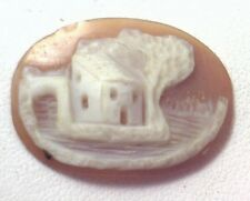 NOS Antique Vintage Hand Carved Oval Shell CAMEO Stone House & Tree Scene #N414