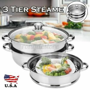 Stainless Steel 3Tier Steamer Cooker Pot Vegetable Steamer Tool Food + Glass li