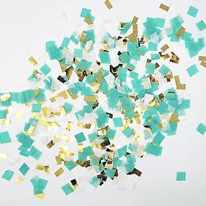 Mint Aqua White Gold Foil Shredded Confetti Paper Glitter Party Decoration