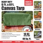 New Heavy Duty Canvas Tarp - 100% Cotton Canvas - Water and Mildew Resistant 6x8
