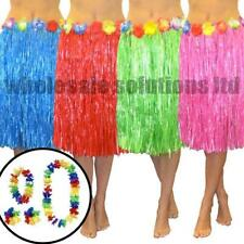 Hawaiian Fancy Dress Hula Grass Skirt Dresses Lei Flower Summer Accessories 5Pcs