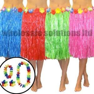 Hawaiian Fancy Dress Hula Grass Skirt Dresses Lei Flower Party Accessories 5Pcs