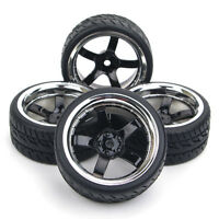 RC 4X Run Flat Tires&Wheels 12mm Hex For HSP HPI 1/10 On-Road Racing Model Car