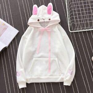 Harajuku Fleece Sweatshirts Rabbit Ear Kawaii Hoodies Cosplay WhiteLarge