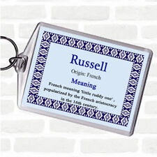 Russell Name Meaning Bag Tag Keychain Keyring  Blue