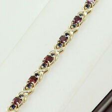 "HIGH END 17.0 CT. BLUE & PURPLE SAPPHIRE TENNIS BRACELET 14K YELLOW GOLD 7"" LONG"