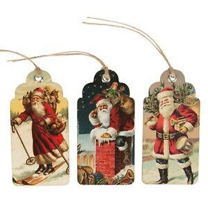Sass & Belle 15 x Vintage Retro Father Christmas Gift Tags Traditional Santa