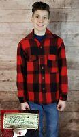 VTG Men's L.L. Bean Red/Black Buffalo Plaid Check Thick Wool Hunting Shirt Sz 15