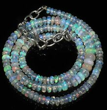 """52 TCW 4to6MM 17""""NATURAL GENUINE ETHIOPIAN WELO FIRE OPAL BEADS NECKLACE-99278"""